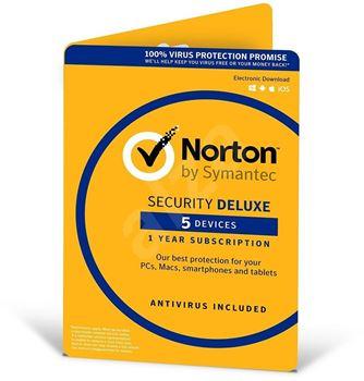 Obrázek Symantec Norton Security Deluxe 3.0 CZ, 1 uživatel, 5 zařízení, 12 měsíců, elektronicky